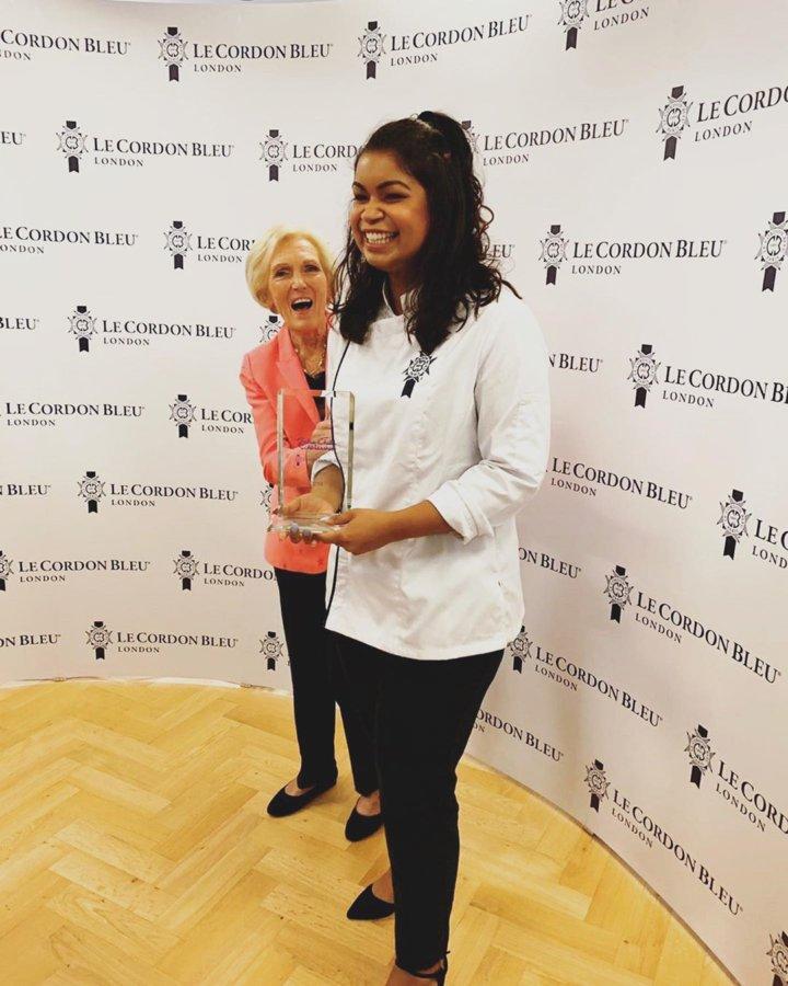 Bianca with Julia Child Scholarship Award at Le Cordon Bleu