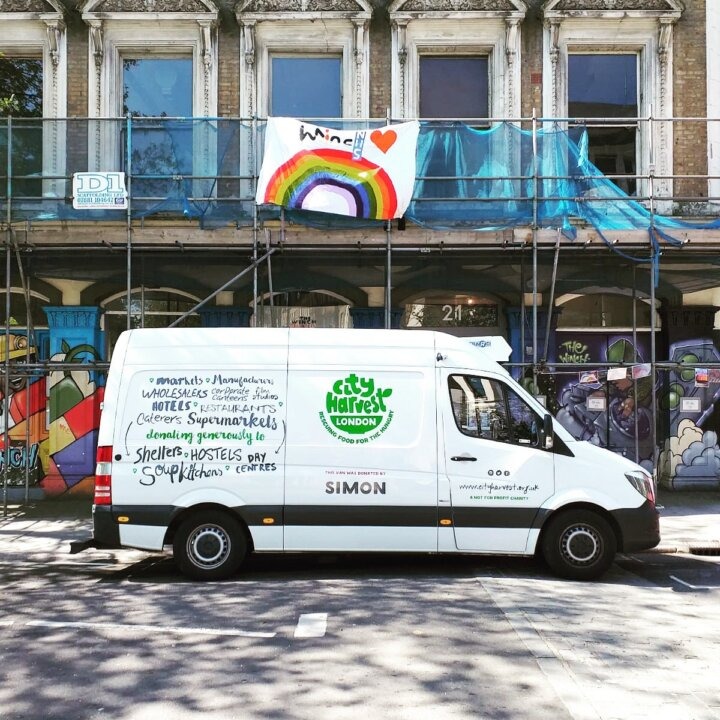 City Harvest van with rainbow