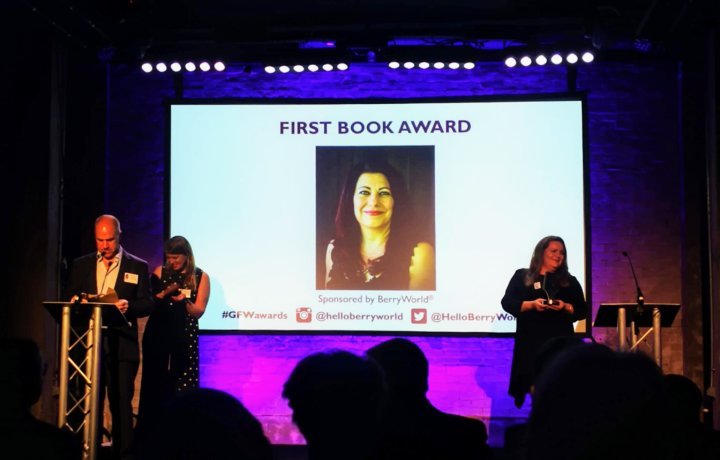 Maryam Sinaiee picking up First Book Award