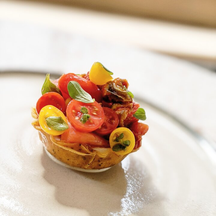 Tartlet of smoked roe, cuore del vesuvio tomato, marjoram - The Dairy Bermondsey