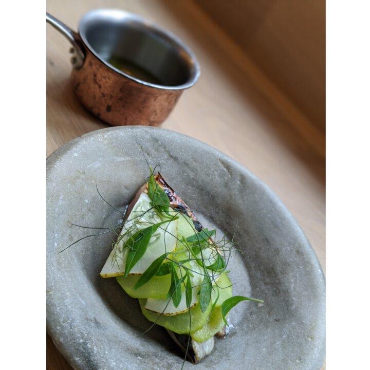 Mackerel with dilled fresh gherkins, sea purslane and dashi The Dairy Bermondsey
