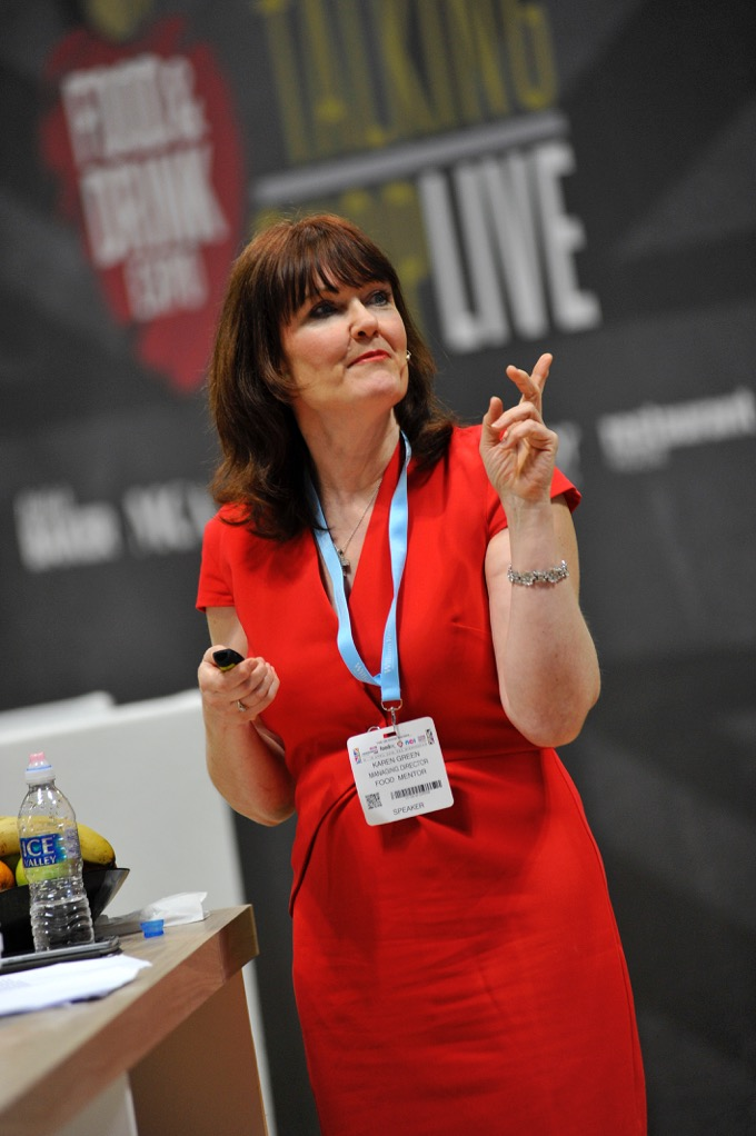 Karen Green speaking at a food show