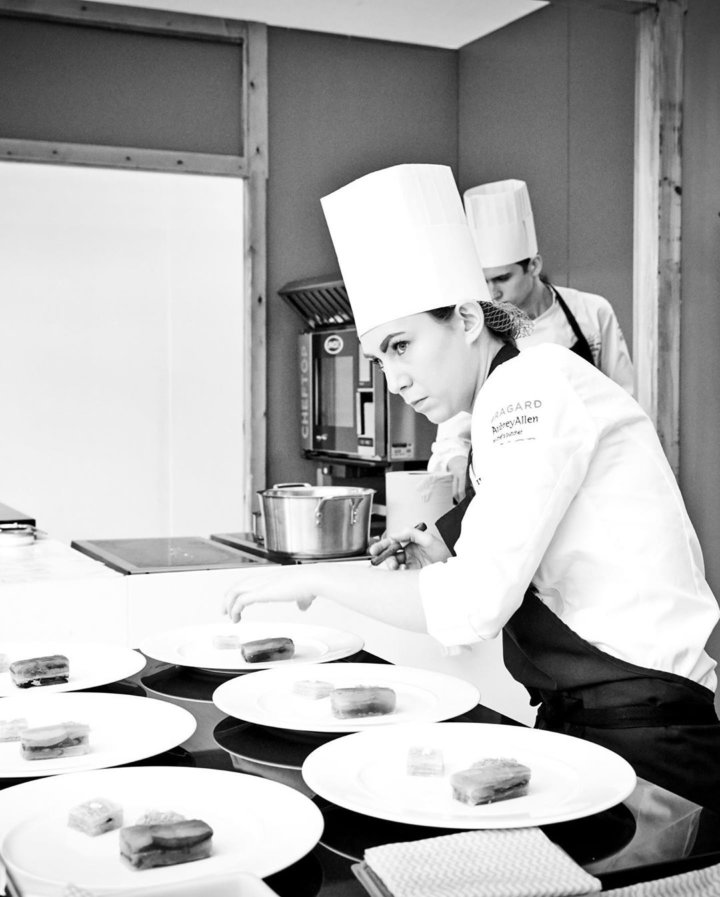 Ruth Hansom cooking at Bocuse d'Or UK Selection