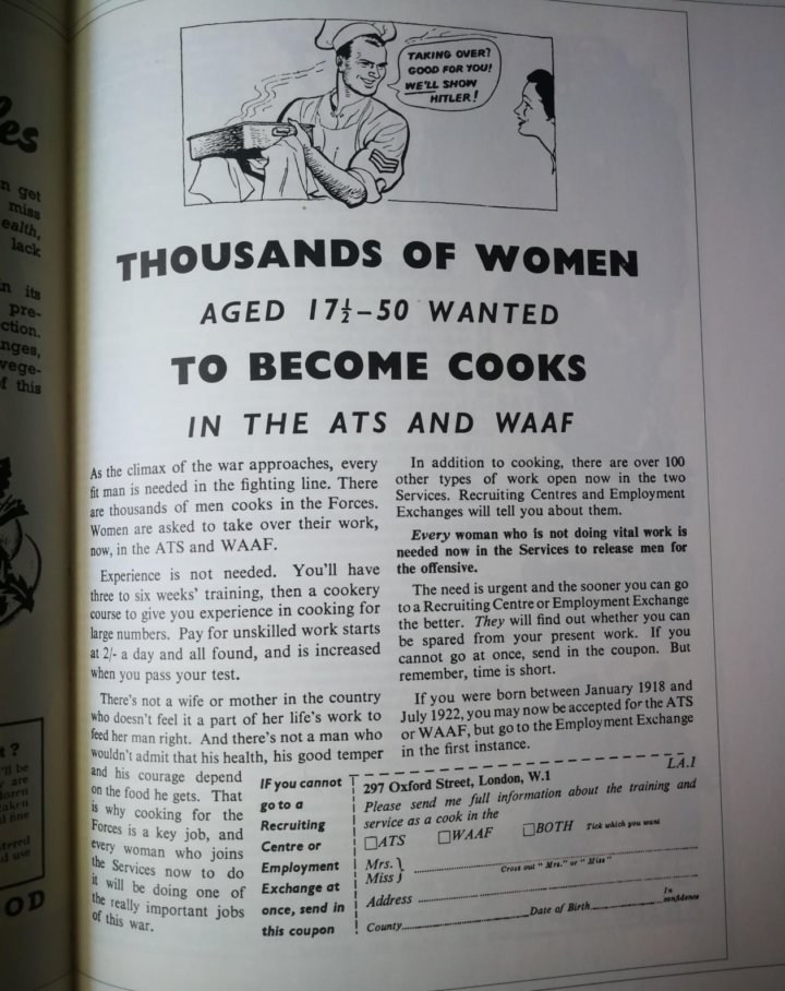 Women wanted to become cooks